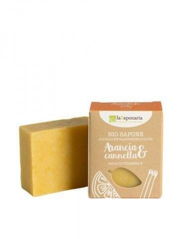 Tuhé olivové mýdlo BIO - Pomeranč a skořice (100 g)