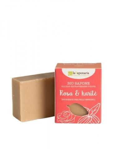 Tuhé olivové mýdlo bio - růžový olej a bambucké máslo