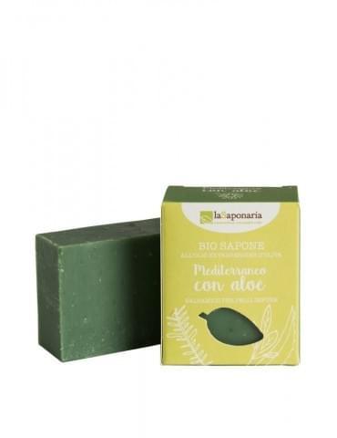 Tuhé olivové mýdlo bio - Středomořské bylinky s aloe vera
